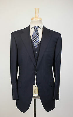 New CANALI Navy Striped Wool 2 Button 3 Piece Suit Size 52/42 R Drop 4 $2350