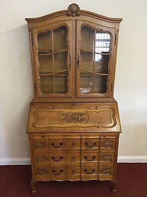 Stunning French Carved Golden Oak Desk Bureau/bookcase