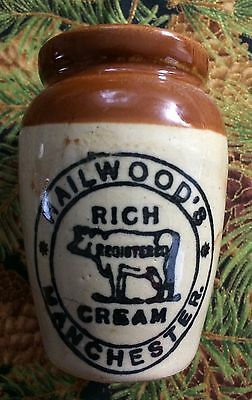 Advertising 1800s Stoneware Antique Creamer Hailwood's Manchester w Cow