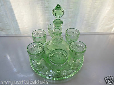 Tiara Indiana Glass Chantilly Green Sandwich Wine Cordial Decanter 9 piece Set