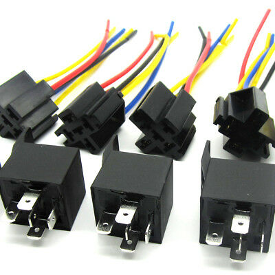 Lot5 New 12Volt 30/40 Amp SPDT Automotive Relay with Wires & Harness Socket