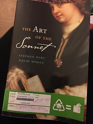 The Art Of The Sonnet By Stephen Burt And David Mikics English Literature Book