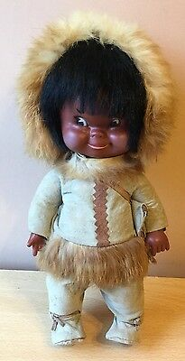 Vintage Regal Eskimo Inuit Indian Doll , Clothes & Bag Made in Canada