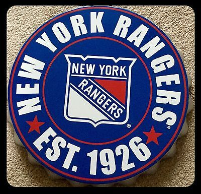 "New York Rangers NHL Logo Bottle Top 13.5"" Hanging Wall Art Decoration"