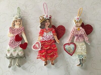 Lot Of 3 Handcrafted Victorian Style Paper Doll VALENTINE Heart Girl Ornaments