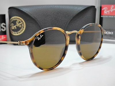 Authentic Ray-Ban RB 2447 1160 Tortoise/Gold/Brown B-15 Round Sunglasses $205