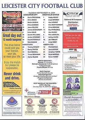 Leicester City v Sheffield United 14/09/04 Championship Team sheet