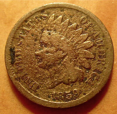 1859 Indian Head Cent - Poor Condition Strong Date