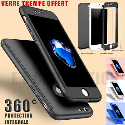 Coque Integral 360 Iphone 6 7 8 5 X Xr Xs Max Vitre Verre Trempe Protection
