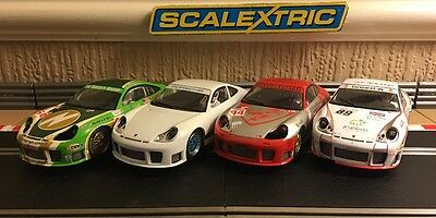 Scalextric x4 Porsche 911 GT3R Cars, All Have Working Front & Rear Lights