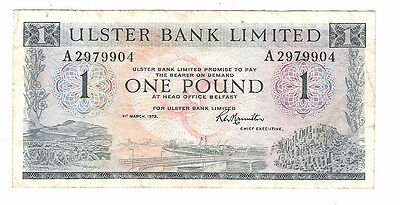 Banknote of ireland one pound ulster bank dated 1973.