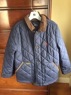 Polo Ralph Lauren Boys Navy Blue Quilted Barn Jacket Size 7