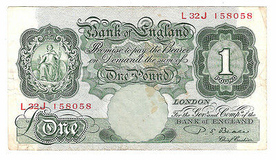 Banknote of england one pound note PS. BEALE. serial no. L32J.