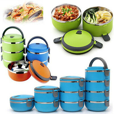 2 Layers Blue Stainless Thermo Food Storage Container Insulated Lunch Box Case