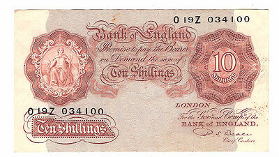 Banknote of england 10 shillings PS. Beale. O19Z. Very fine condition.
