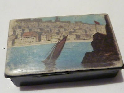 Antique Papier Mache Snuff Box with a colourful Boating scene on the lid
