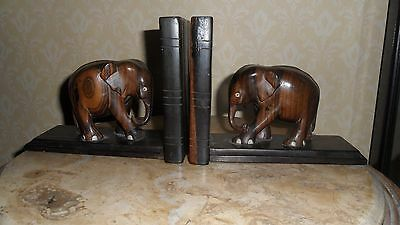 Very Elegant Carved Pair Of Wood Elephant Book Ends