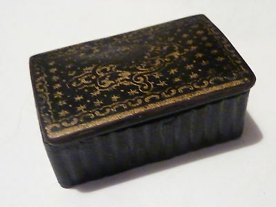 Antique Papier Mache Snuff Box with a Gilt printed pattern on the lid