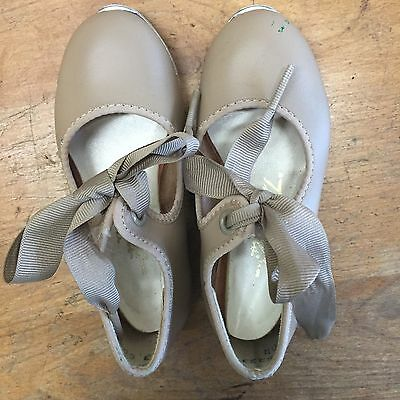 Toddler girl 4 Tyette Tan Beige Tap Dance Shoes EXCELLENT