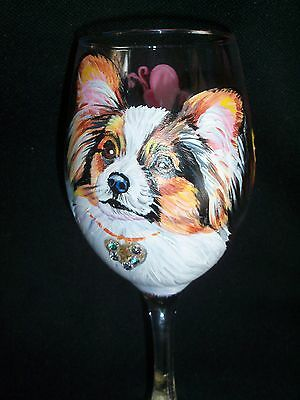 HP Papillon tri WINE GLASS goblet hand painted PAINTING dog ART Original NICE!