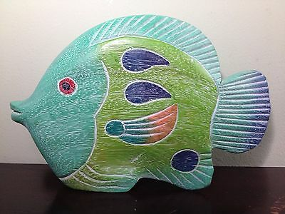Wood Carved and Hand Painted Angel Fish