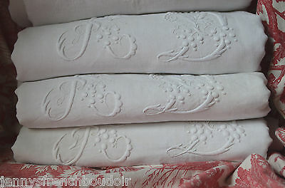 """Antique French pure linen AD hand embroidered dowry sheet 93"""" wide"""