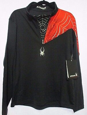 New Men's Spyder Angle T Neck 1/4 Zip Large L Base Layer Black Red Shirt NWT $95