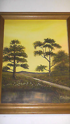 Oil on Board Landscape Painting by M. Benton