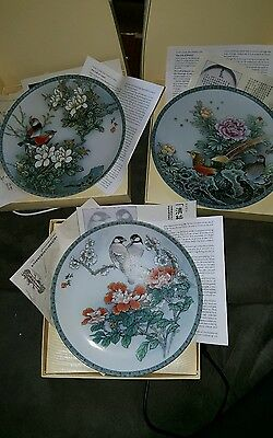 Lot of 3 plates - Blessings from a Chinese Garden -Imperial Jingdezhen