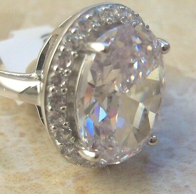 NEW Sterling Silver Cubic Zirconia Solitaire Ring Choice of Size