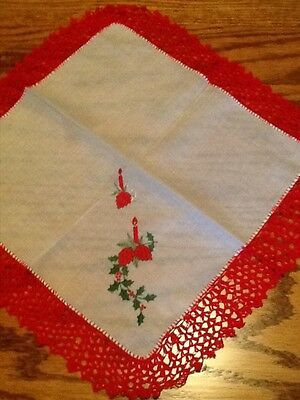 "Beautiful Vintage Ladies Handkerchief  Christmas 2"" Crochet Embroider Candle"
