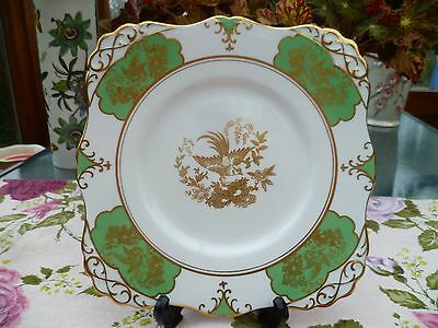 Vintage Tuscan English China Cake or Sandwich Plate Green Gilded Birds 9161