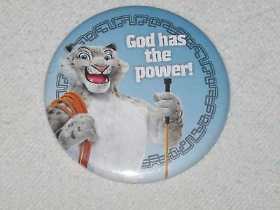 God Has The Power! Button Pin Pinback White Tiger