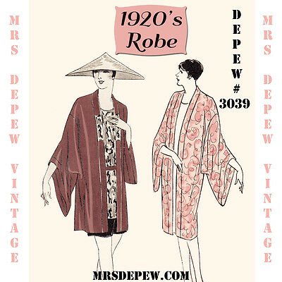 Vintage Sewing Pattern Instructions 1920's Robe Kimono Coolie Coat Booklet #3039