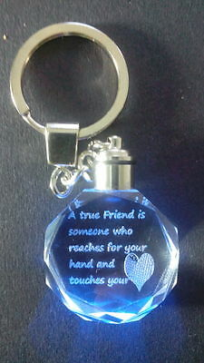 Mothers day or Valentines Gift Crystal Keyring Standard or Personalised Message