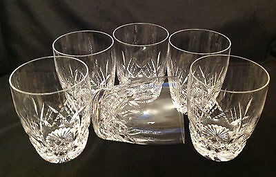 6 Stuart Crystal Glasses in the Glengarry Cut Etched Mark