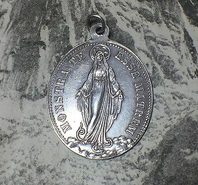 Antique Silver 'congregation Of The Children Of Mary' Our Lady Pendant Meadl
