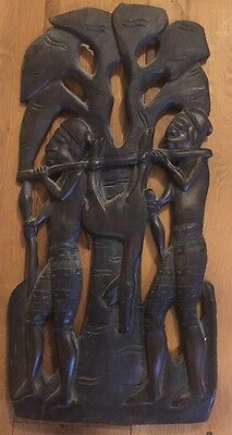 African Hand Carved Ebonised Wood Carving / Wall Hanging