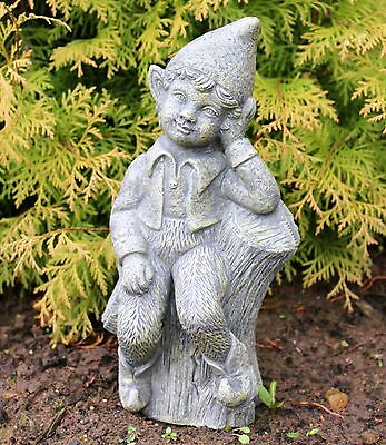 Sitting Garden Boy on Log Fairy Garden Ornament solid Stone Sculpture DS5302