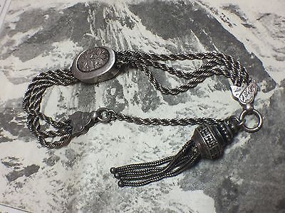 Lovely Antique Victorian Albertina Watch Chain Wth Tassel & Floral Patterning