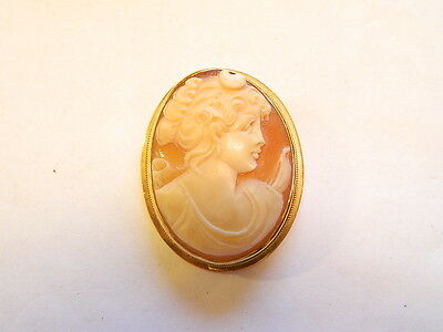 Vintage 18K 750 Gold Cameo Pin Pendant - 1 1/3x1 in.  Lady w/ Psyche Knot