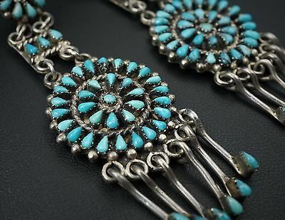 Vintage Zuni Petit Point Sterling Silver Turquoise Earrings Needlepoint ES1150
