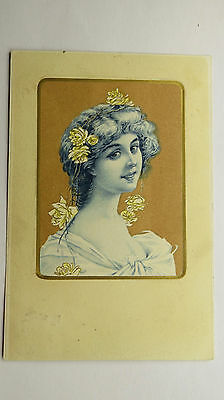 1904 Vintage Art Postcard Edwardian Beauty Young Girl Yellow Roses Glamour