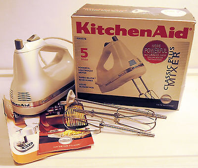KitchenAid KHM5TBWH 5-Speed Classic Plus Hand Mixer - White - Tested & Working
