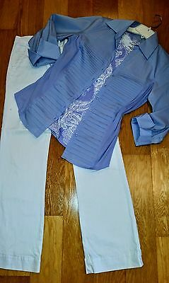WOMEN'S CLOTHING outfit /lot of3 Size L shirt , L top, size 12 white jeans
