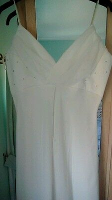 Ivory Tiffany Bling ball evening party wedding  dress gown size 10/12