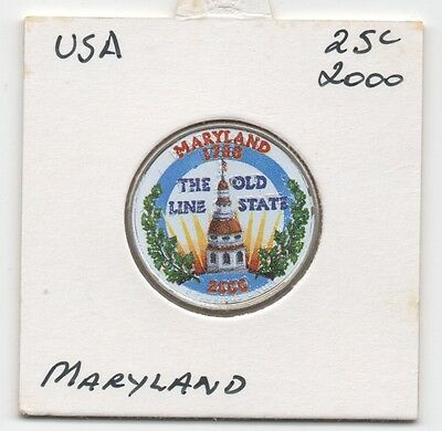 USA 2000 25c (Quarter)UNC/Coloured- State Series- Maryland