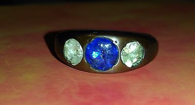 Medieval Bronze Ring with Stone. Artifact.17th century.