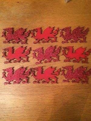 Wooden Welsh Dragon Fridge Magnet Red Wooden Cymru Wales Santes Dwynwen Glitter