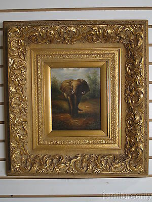 LF35134: Gold Framed Oil Painting on Canvas Mature  Wild Elephant